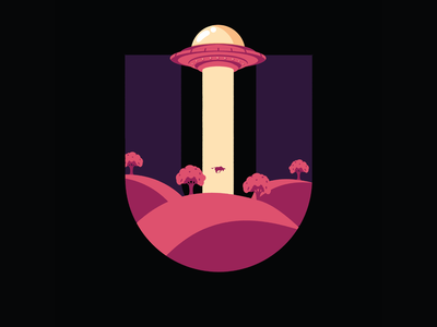 36 Days Of Type- UFO typo type letter lettering letters typography 36days 36daysoftype07 36daysoftype illustration abduction cow spaceship ufo