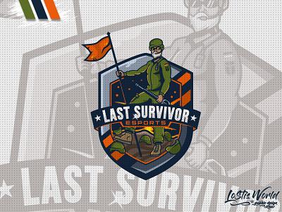 Last Survivor soldier gamer twitch youtube gaming mascot logo esports