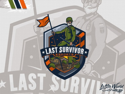 Last Survivor soldier gamer twitch youtube gaming mascot logo esports