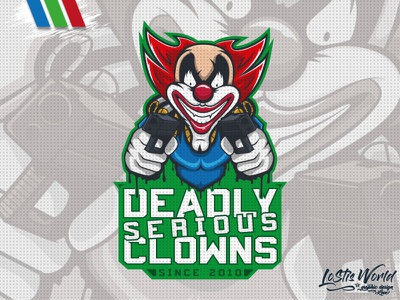 Deadly Serious Clowns clown gamer twitch youtube gaming mascot logo esports