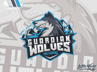 Guardian Wolves wolves wolf gamer twitch youtube gaming mascot logo esports