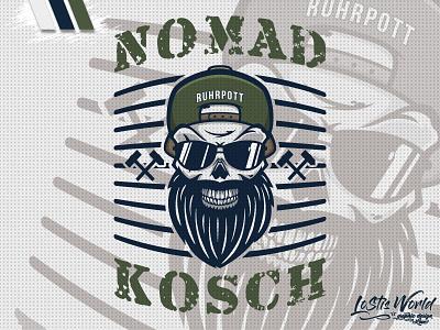 Nomad Kosch beard skull team soldier airsoft paintball mascot logo