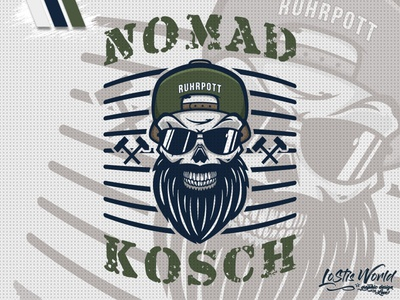 Nomad Kosch beard skull team soldier airsoft paintball mascot logo