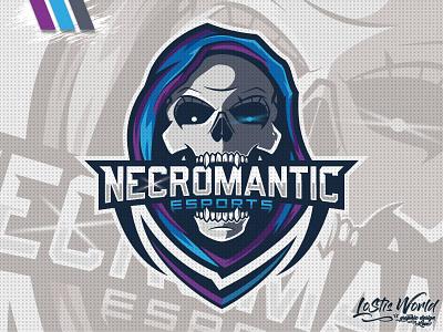Necromantic eSports reaper skull gamer twitch youtube gaming mascot logo esports