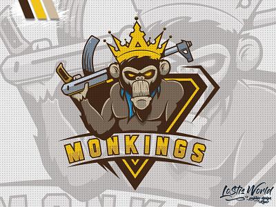 MonKings ape monkey gamer twitch youtube gaming mascot logo esports