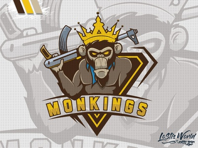 MonKings ape monkey gamer twitch youtube gaming mascot logo esports