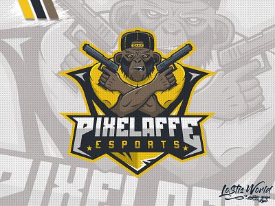 Pixelaffe affe pixel monkey gamer twitch youtube gaming mascot logo esports