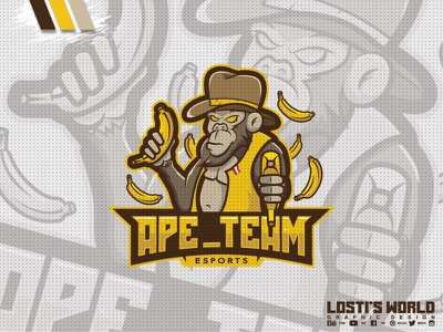 Ape_Team artwork mascot cowboy bananas design logo team ape
