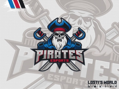 Pirates eSports digital art lostis world artwork art vector branding rifle cowboy design mascot logo