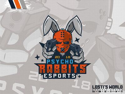 Psycho Rabbits eSports rabbits rabbit digital art lostis world mascot artwork art vector branding esports guns design mascot logo