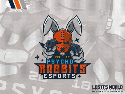 Psycho Rabbits eSports rabbits rabbit digital art lostis world mascot artwork art vector branding esports guns design mascot logo