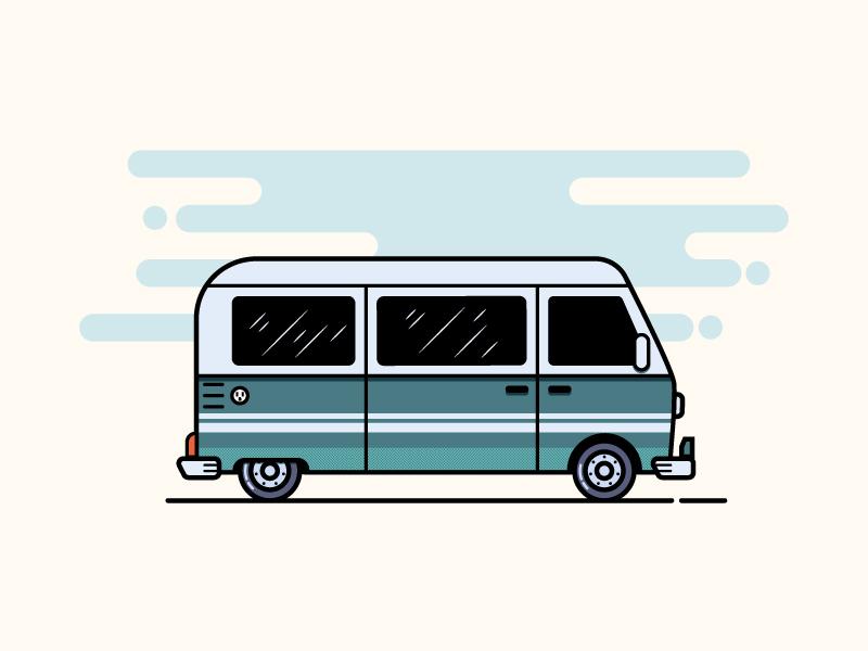 Summer Journey van journey summer car vector illustration combi