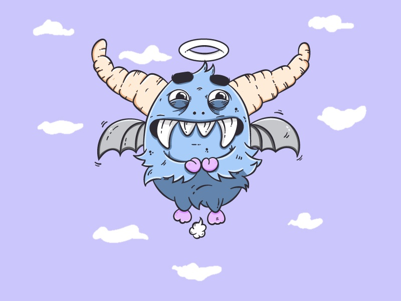 Cutester illustration fun flying sky blue bat fart cute daemon angel weird monster