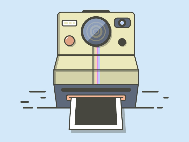 Take a pic cool vector simple illustration fun flat vintage moustache colorful polaroid