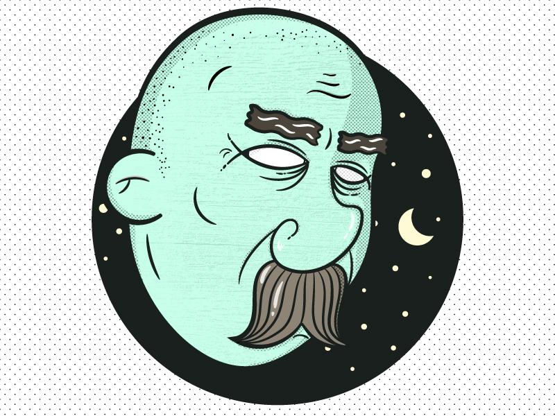 Night & Wisdom old man cool vector simple illustration fun flat vintage mustache stars night