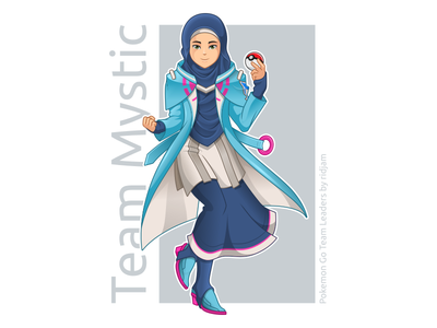 Pokemon Go Leader Of Team Mystic In Hijab Version woman muslim arabian scarf hijab leaders mascot design character fanart pokemongo pokemon