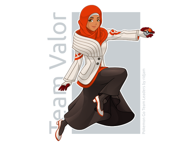 Pokemon Go Leader Of Team Valor In Hijab Version pokemon pokemongo fanart character design mascot leaders hijab scarf arabian muslim woman