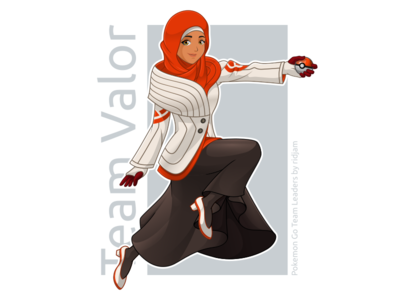 Pokemon Go Leader Of Team Valor In Hijab Version pokemon pokemongo fanart character design mascot leaders hijab scarf arabian muslim woman