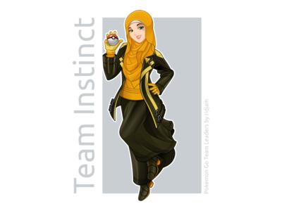Pokemon Go Leader Of Team Instinct In Hijab Version pokemon pokemongo fanart character design mascot leaders hijab scarf arabian muslim woman