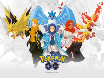 Pokemon Go Team Leaders In Hijab Version woman muslim arabian headscarf hijab leaders mascot design character fanart pokemongo pokemon