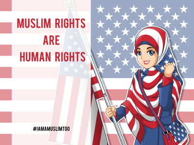 Today I Am A Muslim Too Cartoon Character iamamuslimtoo headcover headscarf character design mascot ny hijab scarf american muslim woman
