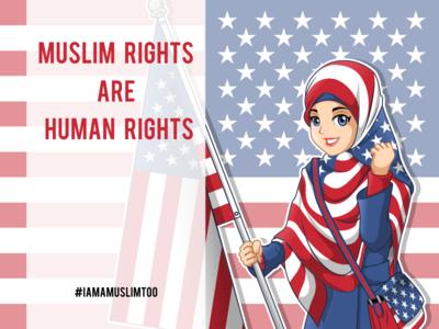 Today I Am A Muslim Too Cartoon Character iamamuslimtoo headcover headscarf character design mascot ny hijab scarf american muslim woman