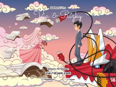 Via & Rizky Wedding Invitation Card islam style hijab bridal bridesmaid brides sky cloud art card wedding fantasy robot illustration mascot cartoon vector character