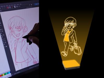Mascot Design for Epitiro Holdings Inc. casual glasses business nerd geek anime walking suitcase telephone man businessman hologram airport design illustration mascot vector cartoon character