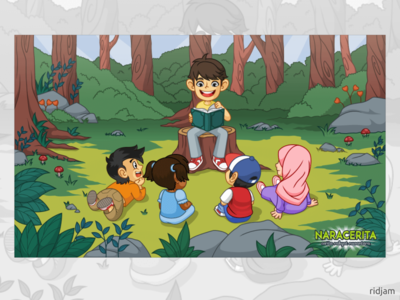 Illustration for frontpage naracerita outdoor class story storybook storytelling book learning forest cute illustration mascot vector cartoon character