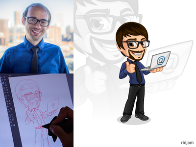 Mascot Design for Cold Pitch Academy mascotlogo thumbsup thumbs up standing glasses illustration vector people business businessman laptop geek nerd guy man design mascot character cartoon