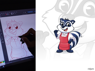 Raccoon Car Wash Mascot Design to sketch hips on hands art up thumbs apron raccoon wash car design illustration mascot vector cartoon character