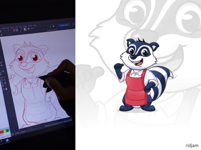Raccoon Car Wash Mascot Design to sketch hips on hands art up thumbs apron raccoon wash car design illustration mascot vector cartoon character