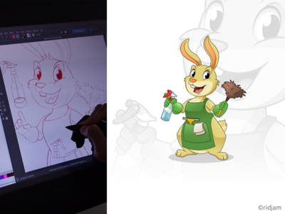 Rabbit Residential Cleaning Mascot Design maintenance dust spray residential animal logo cleaner service cleaning bunny rabbit design illustration mascot vector cartoon character