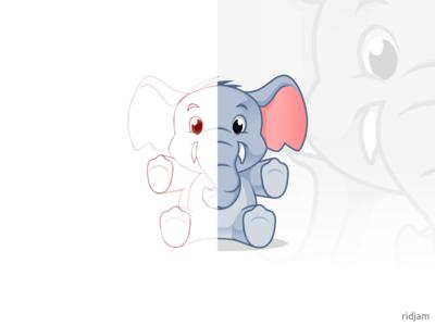 Elephant Doll Mascot Design adorable cute toys animal sketch baby doll elephants design mascot illustration vector character cartoon