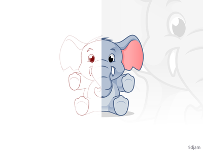 Elephant Doll Mascot Design adorable cute toys animal sketch baby doll elephants design mascot illustration vector character cartoon