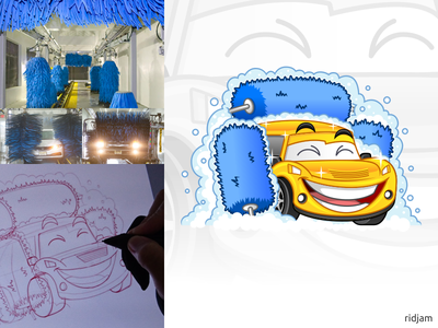 Automatic Car Wash Tunnels Mascot Design robot vehicle automatic auto tunnels wash car logo design illustration mascot vector cartoon character