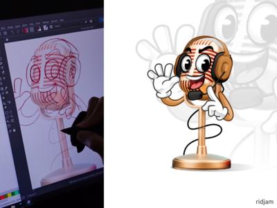 Microphone Mascot Design host speaker condenser radio air on microphone logo illustration mascot vector cartoon character