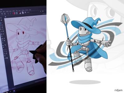 Robot Wizard Mascot Design knight guardian magic wizards robots wizard robot design illustration mascot vector cartoon character