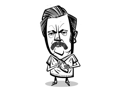 Ron Swanson caricature clipstudio characterdesign illustration