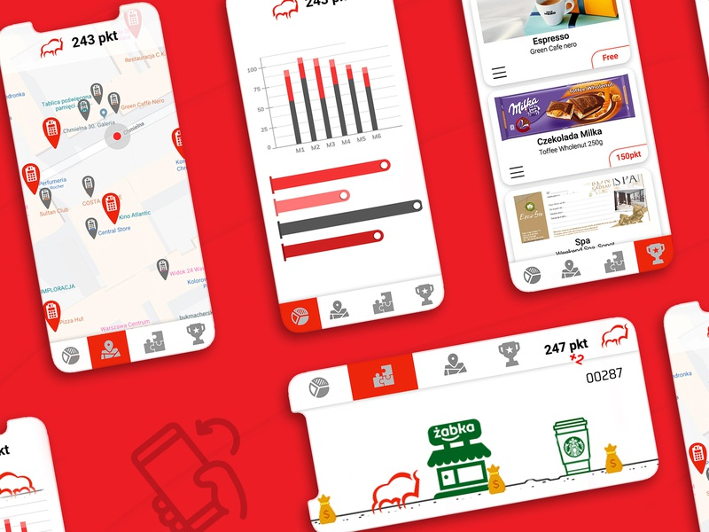 Loyalty App for Pekao SA maps bison red design dribbble android app ios merchant figma illuatration ecommerce animation pekao app loyalty android