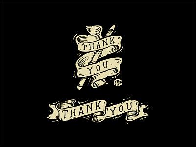 Thankyou Dribbble ribbon customlettering logotype vintagedesign handlettering designstudio