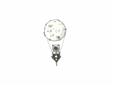 Hot Air Moon tattoo design hot air balloon black and white illustration design inkwork planet spaceman liner space moon ink