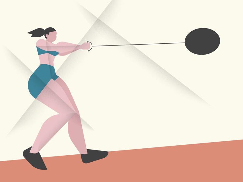 Hammer throwing illustration sport women vector