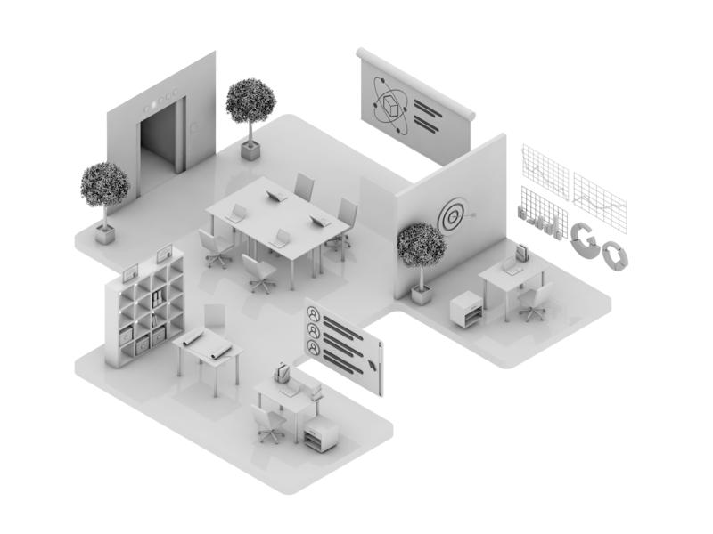 Office 3D model 3d isometric illustration