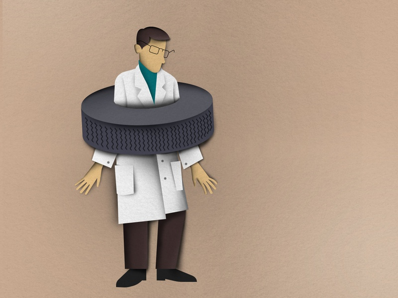 Scientist and tire infograhic paper art vector illustration