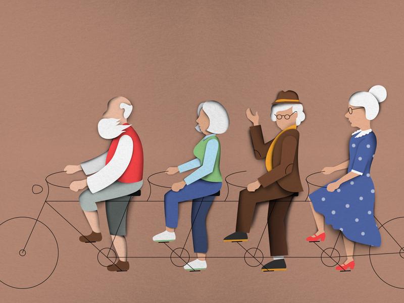 Pensioners on tandem paper art vector infograhic illustration