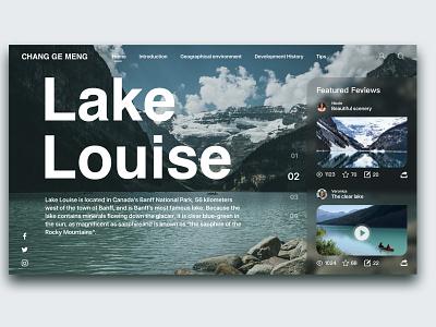 Lake Louise lake landscape social natural blue flat clean website web typography type ux ui design