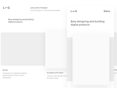 L—G. High Fidelity Wireframe ux ui minimal project layout inspiration fidelity responsive mobile personal wireframe website