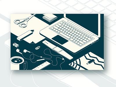 workspace illustration designer coffee airpods watches macbook laptop workspace