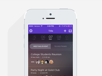 Task Manage App ux ui ios iphone mobile application to-do event meeting task